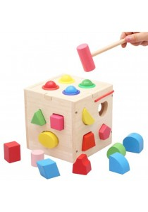 Shape Sorting Box with Wooden Hammer Wooden Toy -BT15