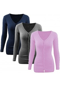 SoKaNo Trendz Long Sleeve V Neck Knitted Cardigan