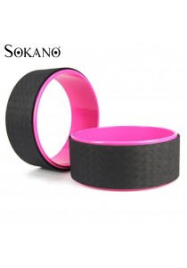 SOKANO Yoga Wheel Premium Back Roller and Stretcher with Cushion- Rose Red