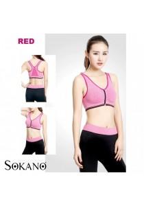 SoKaNo Trendz SS03 Front Zipper Yoga Bra And Long Sport Pants Red