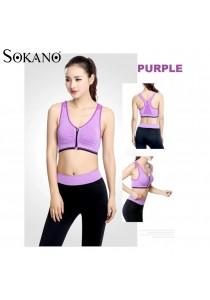 SoKaNo Trendz SS03 Front Zipper Yoga Bra And Long Sport Pants Purple