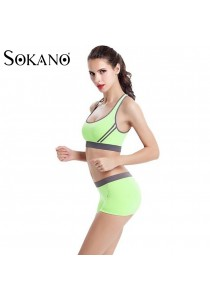 SoKaNo Trendz SS01 Yoga Bra and Short Pants 2 Pcs Set- Light Green