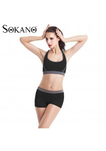 SoKaNo Trendz SS01 Yoga Bra and Short Pants 2 Pcs Set- Black