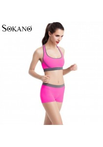 SoKaNo Trendz SS01 Yoga Bra and Short Pants 2 Pcs Set- Pink