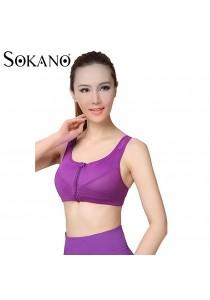 Sokano Level 4 Support Front Zipped Sport Bra- Purple