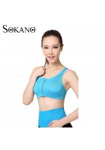 SOKANO Level 4 Support Front Zipped Sport Bra- Blue