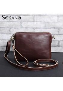 SoKaNo Trendz M007 Classic Premium PU Leather Handy Pouch (Dark Brown)