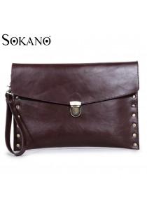 SoKaNo Trendz M003 PU Leather A4 Size Rivet Design Handy Tote Bag (Brown)