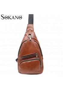 SoKaNo Trendz M001 PU Leather Chest Bag (Light Brown)