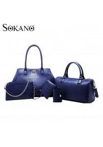 SoKaNo Trendz Elegant Crocodile Faux Leather Bags- 5 pcs Set (Blue)