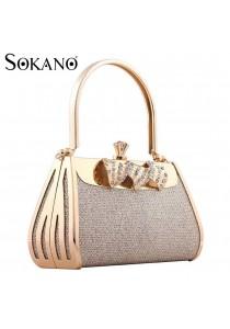 SoKaNo Trendz 844 Premium Evening Bag With Australian Crystal (Gold)