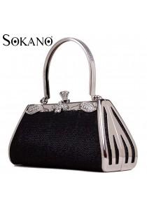 Sokano Trendz 15689 Premium Evening Bag With Australian Crystal (Black)