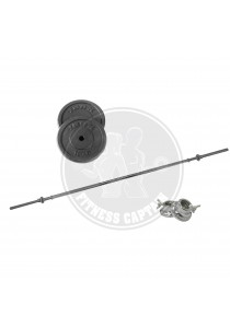 Fitness Gym Straight Barbell 1.5M + Cast Iron Weight Plate 10kg Combo
