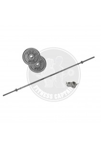Fitness Gym Straight Barbell 1.8M + Cast Iron Weight Plate 10kg Combo