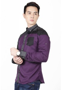 Elegant Long Sleeve Shirt With Two Tone (Purple)