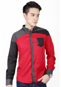 Elegant Long Sleeve Shirt With Two Tone (Red)