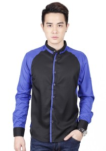 Long Sleeve Shirt With Two Tone (Blue)