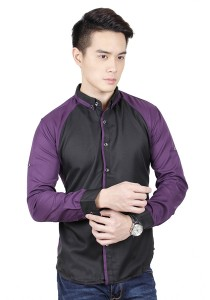 Long Sleeve Shirt With Two Tone (Purple)