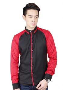 Long Sleeve Shirt With Two Tone (Red)