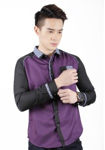 Long Sleeve Slim Fit Shirt (Purple)