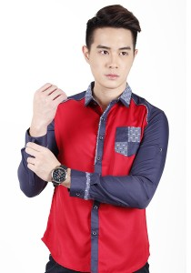 Long Sleeve Slim Fit Shirt (Red)