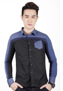 Elegant Solid Colour Long Sleeve Shirt (Black)