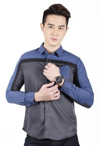 Elegant Solid Colour Long Sleeve Shirt (Grey)
