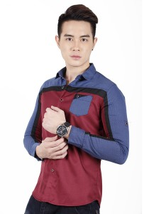 Elegant Solid Colour Long Sleeve Shirt (Maroon)