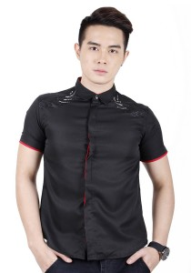 Elegant Men Short Sleeve Shirt (Black)