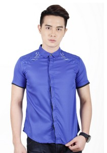 Elegant Men Short Sleeve Shirt (Blue)