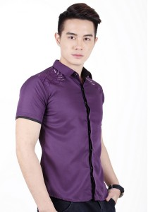 Elegant Men Short Sleeve Shirt (Purple)