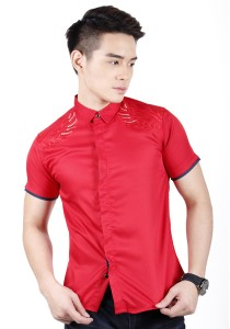 Elegant Men Short Sleeve Shirt (Red)