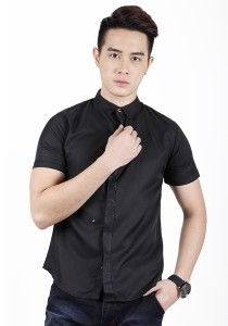 Elegant Solid Colour With Detail Short Sleeve Shirt (Black)