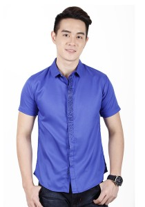 Elegant Solid Colour With Detail Short Sleeve Shirt (Blue)