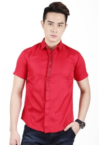 Elegant Solid Colour With Detail Short Sleeve Shirt (Red)