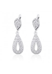 Caron Boutique White Gold Plated Bella Style Drop Earrings