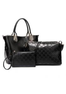 Momorain 3in1 Faux Leather Fashion Bag (Black)