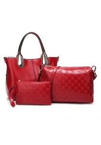 Momorain 3in1 Faux Leather Fashion Bag (Red)