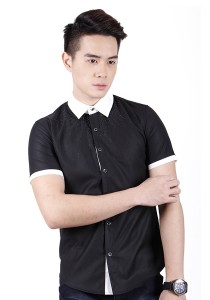 New Stylish Men Shirt With Black Beads (Black)