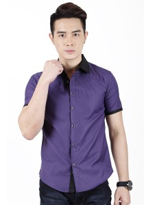 New Stylish Men Shirt With Black Beads (Purple)