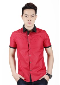 New Stylish Men Shirt With Black Beads (Red)