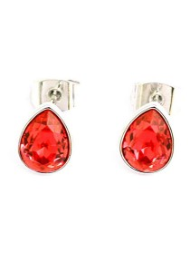 OUXI Swarovski Ruby Stud Earrings