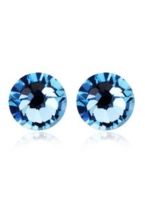 OUXI Pearl Round Stud Earrings (Ocean Blue)