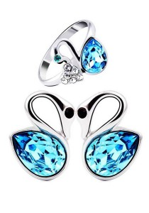OUXI Swan Ring and Earrings Set (Size 10)