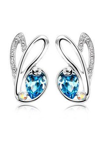 OUXI Rabbit Charm Earrings (Aquamarine)