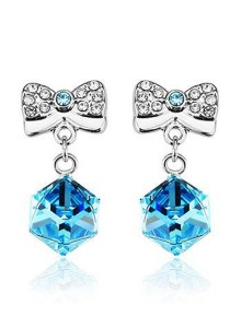 OUXI Ribbon Box Earrings (Aquamarine)
