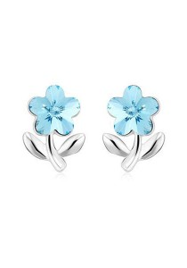 OUXI Delicate Flower Earrings (Aquamarine)
