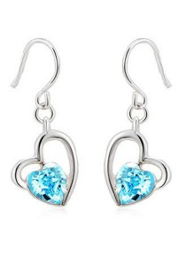 OUXI Fancy Heart Earrings (Aquamarine)