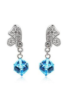 OUXI Butterfly Box Earrings (Aquamarine)