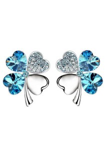 OUXI Four Leaf Clover Earrings (Aquamarine)